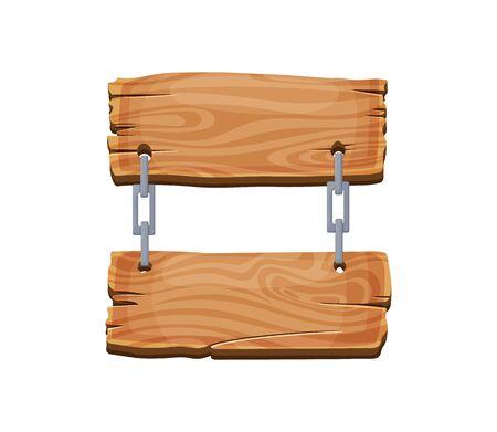 Cartoon wood blank signboard, banner and ribbon, western sign vector set. Wooden banner and vintage frame plank illustration. Ilustração Vetorial