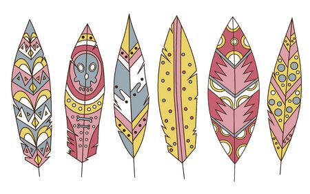 Colorful detailed bird feathers set, painted watercolor design. Hand drawn editable elements, realistic style, vector illustration. Ethnic Colored feathers, isolated on background, sketched collection Vetores