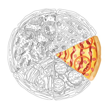 Pizza from different slices top view isolated on white photo-realistic and coloring vector illustration. Иллюстрация