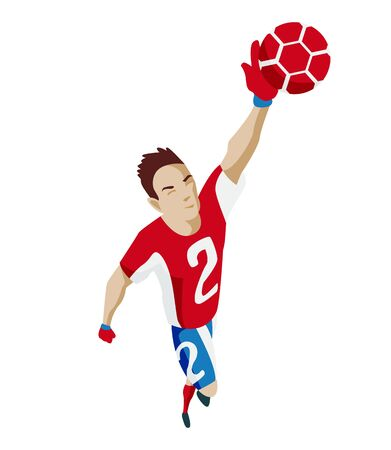 Goalkeeper catches the ball. Football. Vector illustration of a flat design.