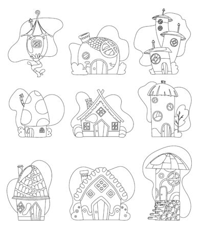 Fantasy house set vector cartoon fairy treehouse and housing village coloring illustration set of kids fairytale playhouse isolated on white background. Vettoriali