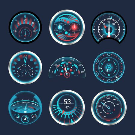 Set of isolated speedometers for dashboard. Analog and digatal devices for measuring speed and futuristic speedometer, technology gauge with arrow or pointer for vehicle panel, web download speed sign