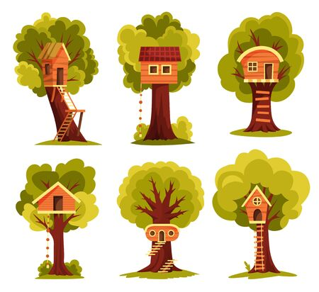 Set of tree house. Children playground with swing and ladder. Flat style vector illustration. Tree house for playing and parties. House on tree for kids. Wooden town, rope park between green foliage