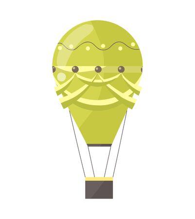 Flat illustration of hot air-balloon. Cartoon colorful flying entertainment festival balloon outdoor. Travel, sky transport illustration.