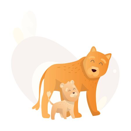 Two lion look at each other. Animals mom and baby. Cartoons cute animals in flat style. Print for clothes. Vector illustration.