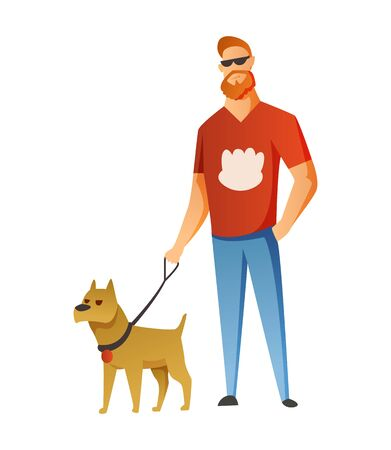 Man with dog isolated on white background. Holding their domestic animal. Male flat cartoon character. Colorful vector illustration.