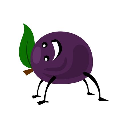 Sport plum character. Funny fruit food on sport exercises, fitness vitaminic human healthy nutrition vector illustration.