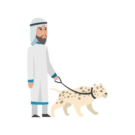 Successful Arab man in white clothes. Vector cartoon smiling Islamic businessman dressed in traditional clothes. Vector man with charts, animal, bag, smartphone, gold-silver, diamond, dollar, euro.
