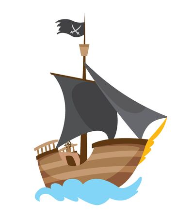 Wooden pirate buccaneer filibuster corsair sea dog ship icon game, isolated flat design. Color cartoon frigate. Vector illustration. Stock Illustratie