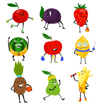 Sport fruits characters. Funny fruit foods on sport exercises, fitness vitaminic human healthy nutrition vector illustration.