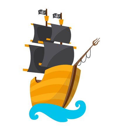 Wooden pirate buccaneer filibuster corsair sea dog ship icon game, isolated flat design. Color cartoon frigate. Vector illustration