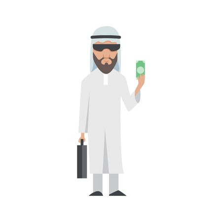Successful Arab man in white clothes. Vector cartoon smiling Islamic businessman dressed in traditional clothes. Elegant businessman. Vector man with dolar and black bag.