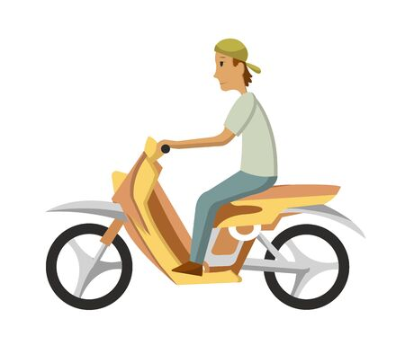 Vector modern creative flat design illustration featuring young man commuting on retro scooter. Man riding classic looking moped, side view.