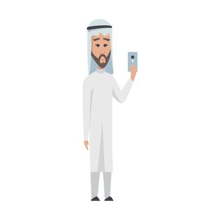 Hombre árabe exitoso vestido de blanco. Vector de dibujos animados sonriente empresario islámico vestido con ropas tradicionales. Hombre de vector con gráficos, animal, bolso, smartphone, oro-plata, diamante, dólar, euro. Ilustración de vector