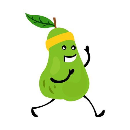 Sport running pear character. Funny fruit food on sport exercises, fitness vitaminic human healthy nutrition vector illustration.
