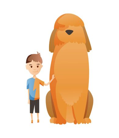 Boy with dog isolated on white background. Holding their domestic animal. Male flat cartoon character. Colorful vector illustration Illustration