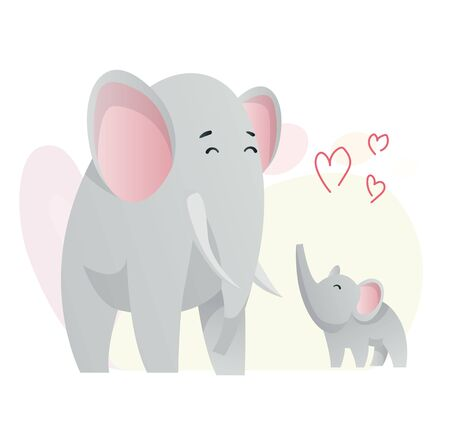 Two elephant. Animals mom and baby. Cartoons cute animals in flat style. Print for clothes. Vector illustration.