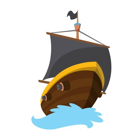 Wooden pirate buccaneer filibuster corsair sea dog ship icon game, isolated flat design. Color cartoon frigate. Vector illustration. Illustration