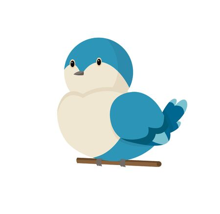 Cute little colorful bird isolated on white background. Common house sparrow. Small bird in cute cartoon style. Isolated vector clip art illustration. Bird superb fairy wren vector Illustration.