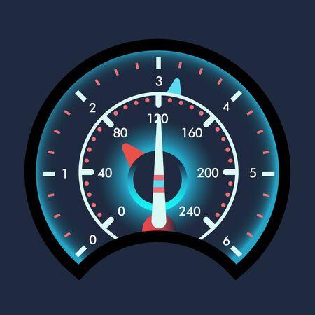 Compteurs de vitesse isolés pour tableau de bord. Appareil de mesure de la vitesse et compteur de vitesse futuriste, jauge de technologie avec flèche ou pointeur pour panneau de véhicule, panneau de vitesse de téléchargement Web