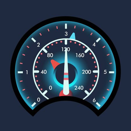 Isolated speedometers for dashboard. Device for measuring speed and futuristic speedometer, technology gauge with arrow or pointer for vehicle panel, web download speed sign