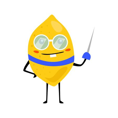 Sport lemon fencing character with glass. Funny fruit food on sport exercises, fitness vitaminic human healthy nutrition vector illustration.