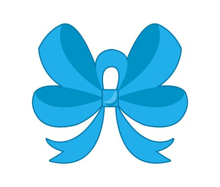 Decorative blue bow. Vector bow for page decor isolated. Girl bows on hair or gifts decorating. Isolated vector on white background. Vektorové ilustrace
