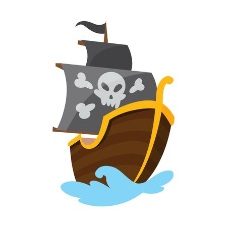Wooden pirate buccaneer filibuster corsair sea dog ship icon game, isolated flat design. Color cartoon frigate. Vector illustration. Stock Vector - 137640636