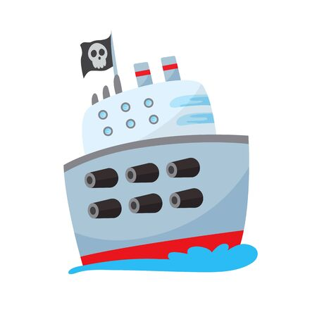 Pirate buccaneer filibuster corsair sea dog ship icon game, isolated flat design. Color cartoon frigate. Vector illustration Stock Vector - 137731353