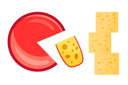 Sliced cheese. Modern flat style realistic vector illustration icons, isolated on white background