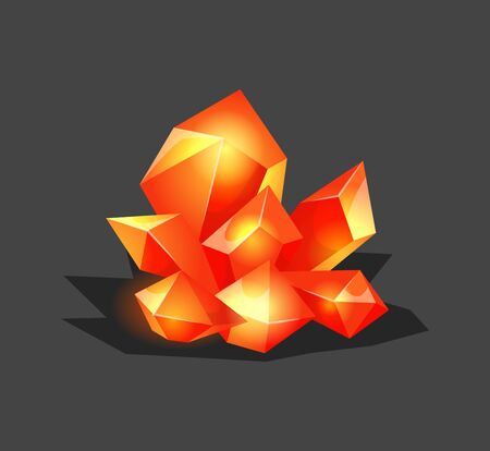 Crystalline stone or gem and precious gemstone for jewellery. Simple crystal symbol with reflection. Cartoon icon as decoration for games. Isolated Vector. Orange Illusztráció