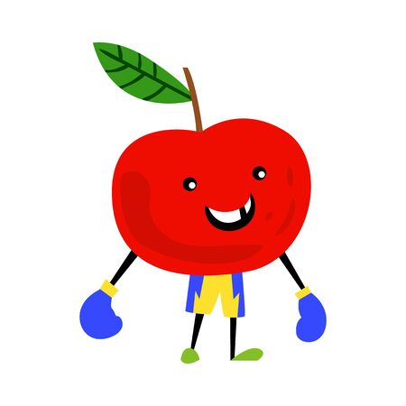 Sport apple character with boxing gloves. Funny fruit food on sport exercises, fitness vitaminic human healthy nutrition vector illustration.