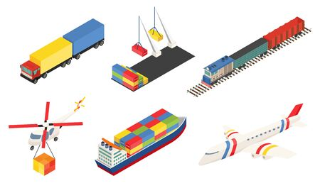 Element of Global logistics network. Vector illustration. Different type of transport. Air cargo plane, rail transportation on train, maritime shipping large ships, truk and port with container