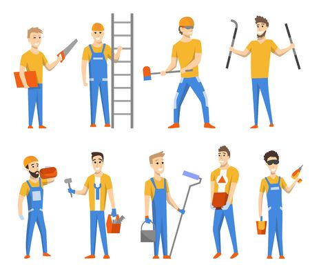 Engineers and designers for building construction. Vector isolated set of character. Mans wearing uniform and using different instruments and paint roller