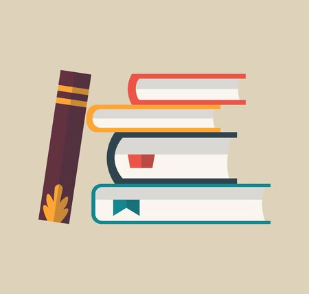 Books in a stack. Colorful books icon, vector illustration. Learn and study. Closed books. Education and knowledge. Reading, learn and receive education through books Ilustrace