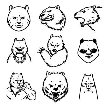 Set of Bear sport vector concept isolated on white background. Modern predator professional team badge design. Premium quality wild animal t-shirt tee print illustration. Sketch style