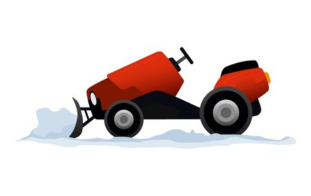 Equipment cleans the road from the snow. Road works. Snow plow equipment isolated on white background. Snow plow mini tractor, snowblower transportation