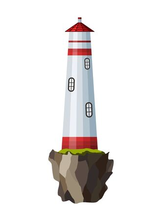 Vector flat lighthouse. Cartoon landscape. Searchlight tower for maritime navigational guidance. Architecture object. Flat building lighthouse on bank