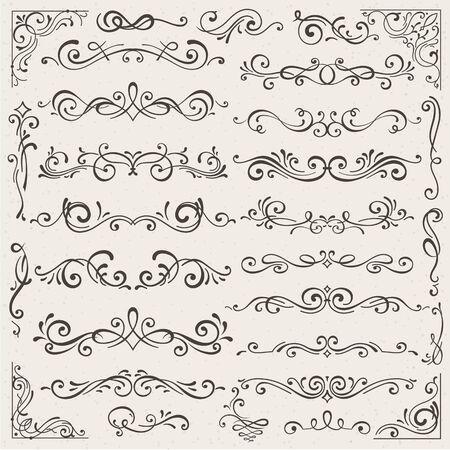Vector set kalligrafische ontwerpelementen en pagina decoraties. Elegante verzameling handgetekende wervelingen en krullen voor uw ontwerp. Geïsoleerd op beige achtergrond