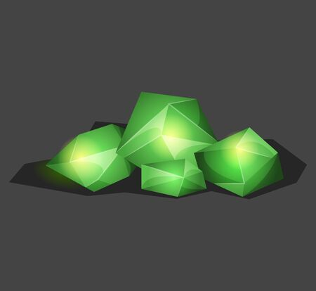 Crystalline stone or gem and precious gemstone for jewellery. Simple crystal symbol with reflection. Cartoon icon as decoration for games. Isolated Vector. Green