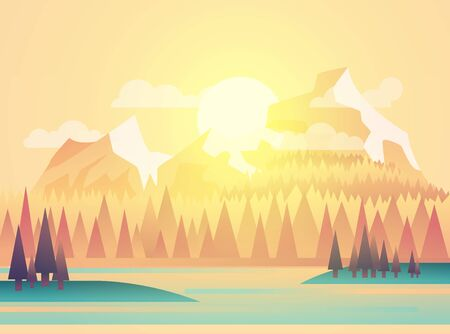 Vector illustration of beautiful fields landscape with a dawn, yellow hills, bright color sky, background in flat cartoon style