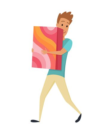 Shopping Man character with gift box in his hands. Smile with pleasure of purchase perfect goods. Good for sales and discounts. Vector concepts. Flat design.