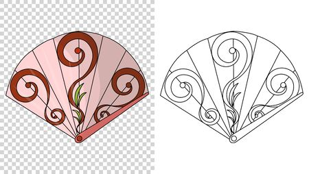 Asian fans. Colored hand traditional fan isolated on transparent background, paper folding painting vector fan in web style. Decorative whisker for man and woman. And sketch style Vettoriali