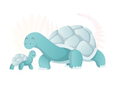 Two walking turtle. Animals mom and baby. Cartoons cute animals in flat style. Print for clothes. Vector illustration