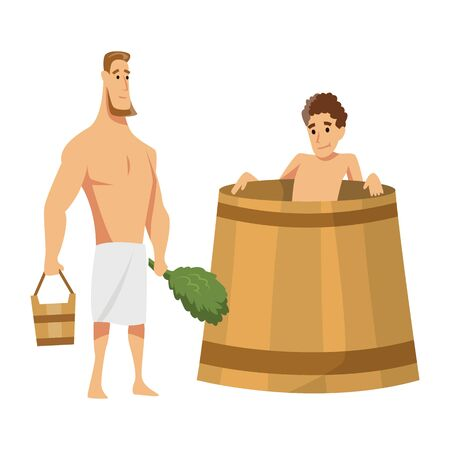 Young man sitting in a tub. Bathhouse or banya procedure. Vector flat people. Activity for wellness and recreation. People Enjoying Sauna Procedures. Ilustrace