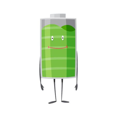 Battery man standing and smile. Full charged green battery. Element of alternative energy. Vector cartoon icon. Ilustracja