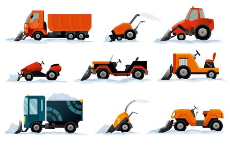 Snow removers. Road works. Set of snowplow equipment isolated on white background. Snow plow truck, excavator bulldozer, mini tractor snowblower transportation.