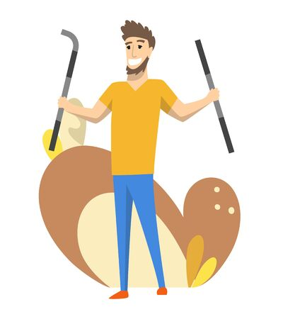 Foreman or worker for building construction. Vector isolated character. Man wearing uniform and using crowbar for her job