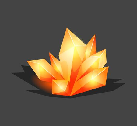 Crystalline stone or gem and precious gemstone for jewellery. Simple crystal symbol with reflection. Cartoon icon as decoration for games. Isolated Vector. Orange 向量圖像
