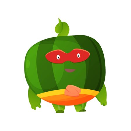 Vector fruit cartoon character of superhero expression. Funny personage of watermelon in mask. Vegetarian diet. Isolated on white background